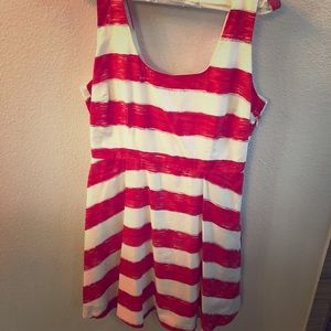 Red and white fit and flare mini